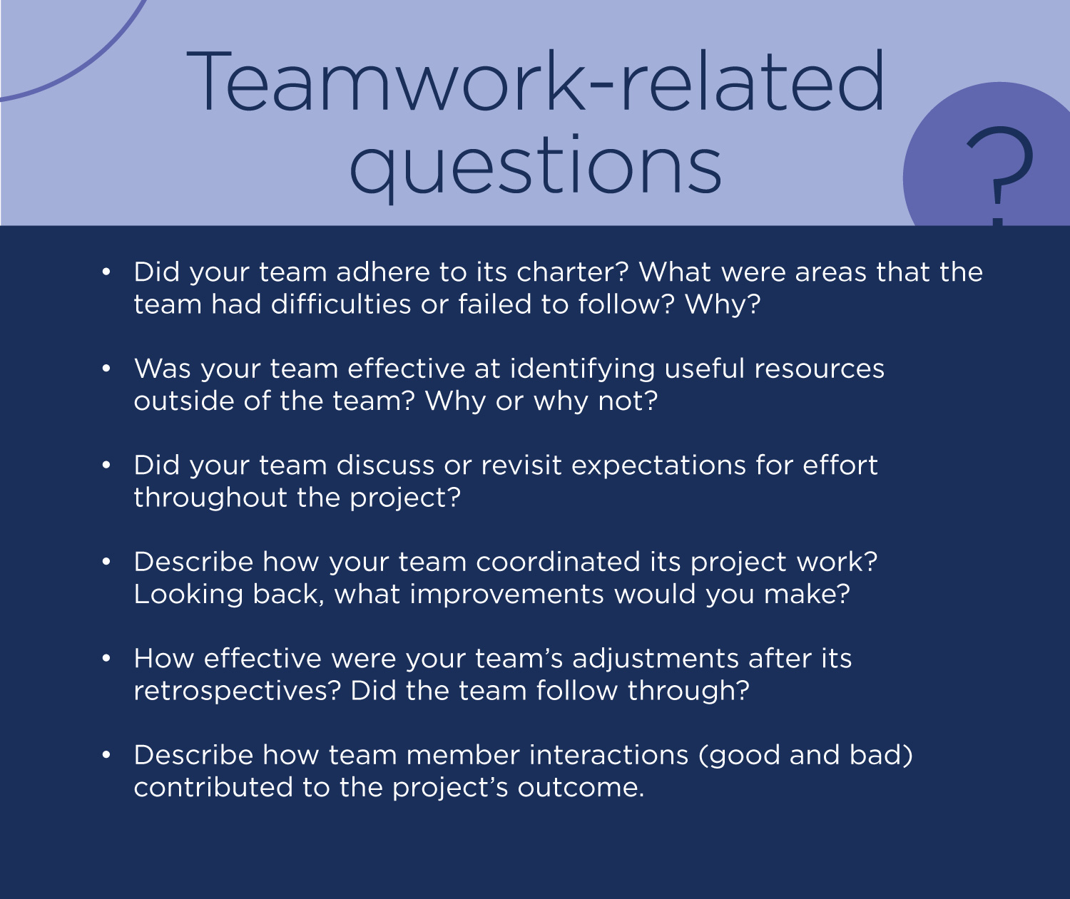 Teamwork-related questions