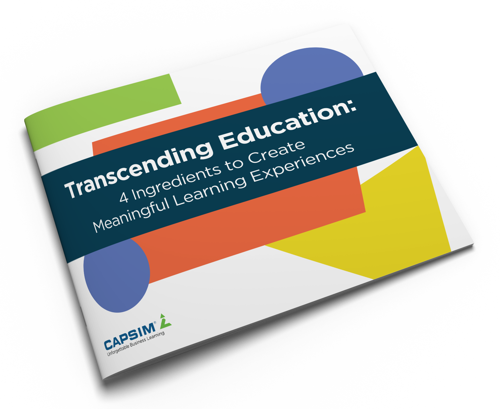 """Book with a colorful cover titled """"transcending education: 4 ingredients to create meaningful learning experiences"""". Authored by Capsim."""