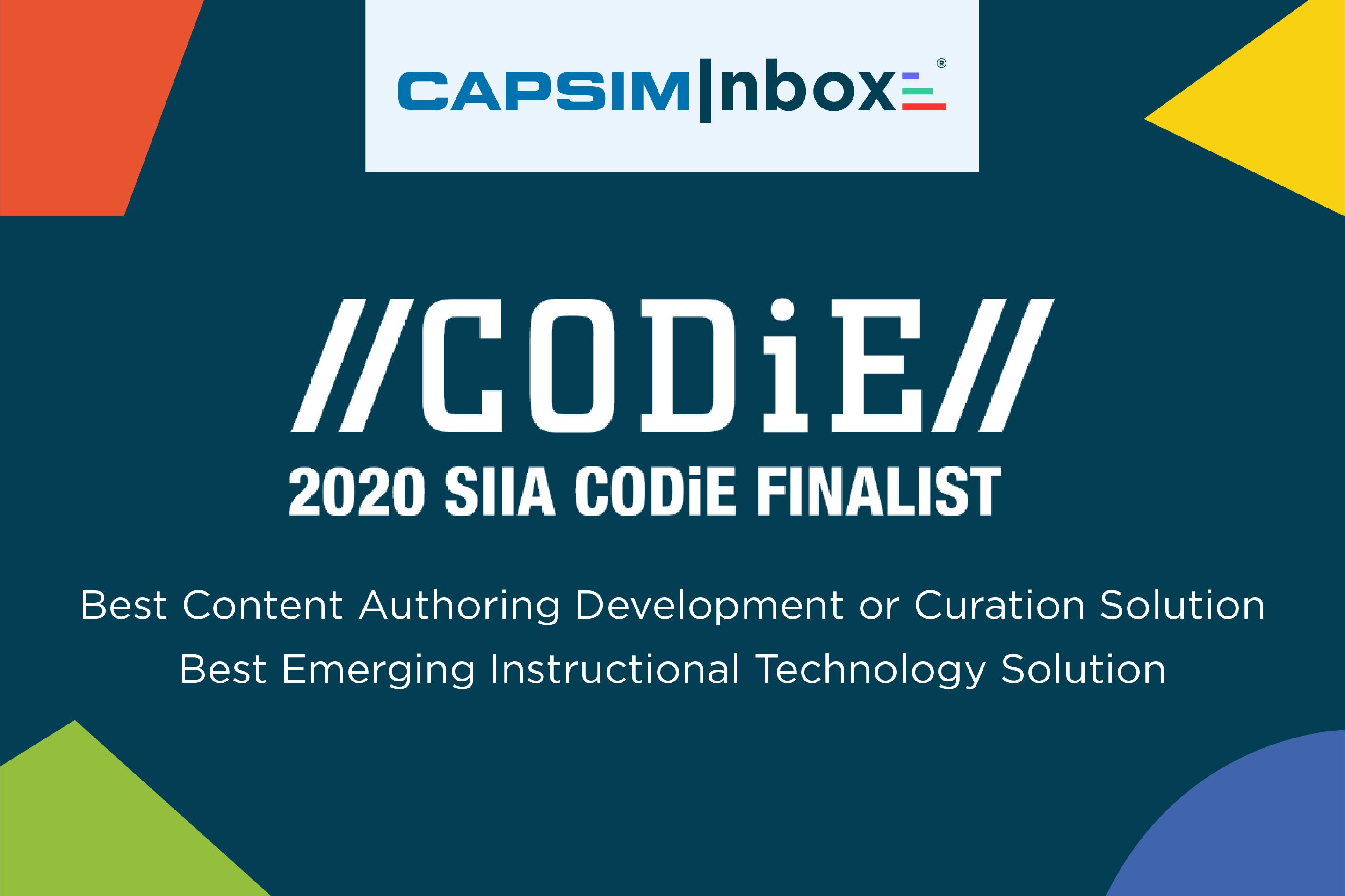 Capsim Announced as 2020 CODiE Award Finalist