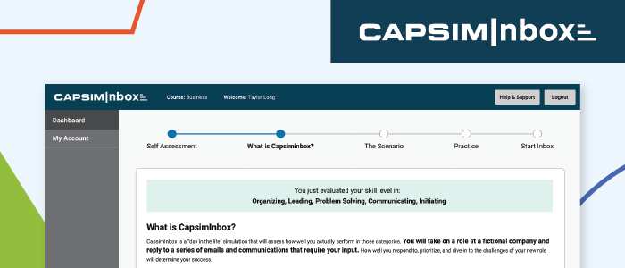 CapsimInbox User Interface Updates: A more clear and succinct onboarding experience
